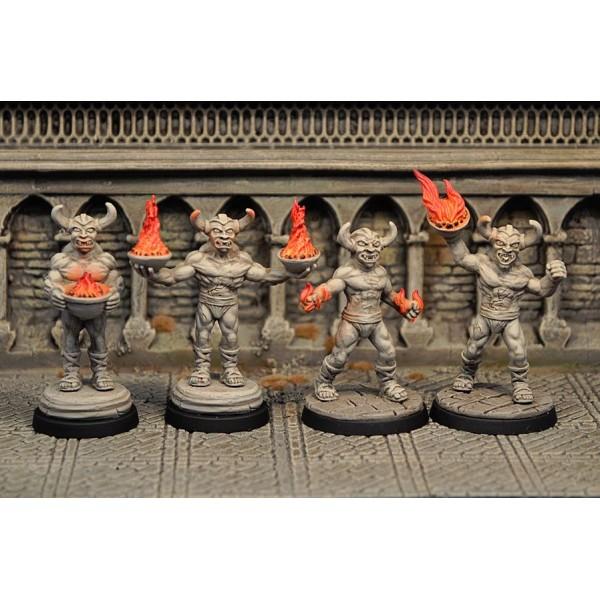 Otherworld Miniatures - Demon Statues Set (4)