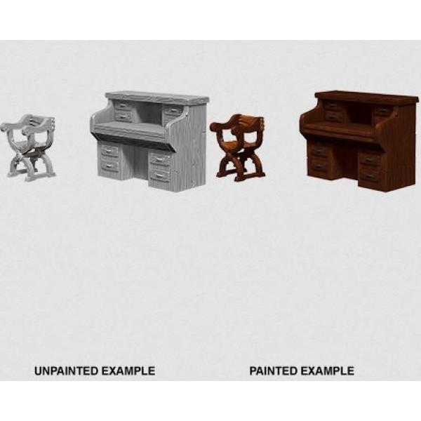 Pathfinder - Deep Cuts Unpainted Miniatures: Desk & Chair