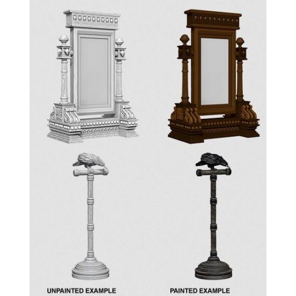 Pathfinder - Deep Cuts Unpainted Miniatures: Mirror & Bird on Stand