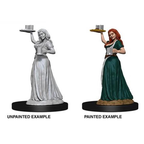 Pathfinder - Deep Cuts Unpainted Miniatures: Merchants (Serving Girl/Merchant)
